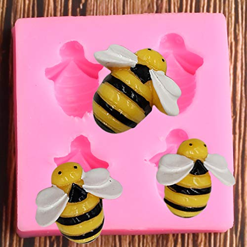 Little Bee Honeybee Animal Silicone Mold for DIY Soap Mould Gum Paste Cupcake Cake Topper Decoration Fondant Mold Ice Cube Desserts Candy Handmade Ice Cream Pudding Jelly Shots Chocolate