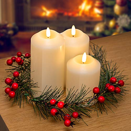GloBrite Set of 3 Battery Operated Flameless LED Ivory Wax Pillar Candles with Christmas Berry Wreath