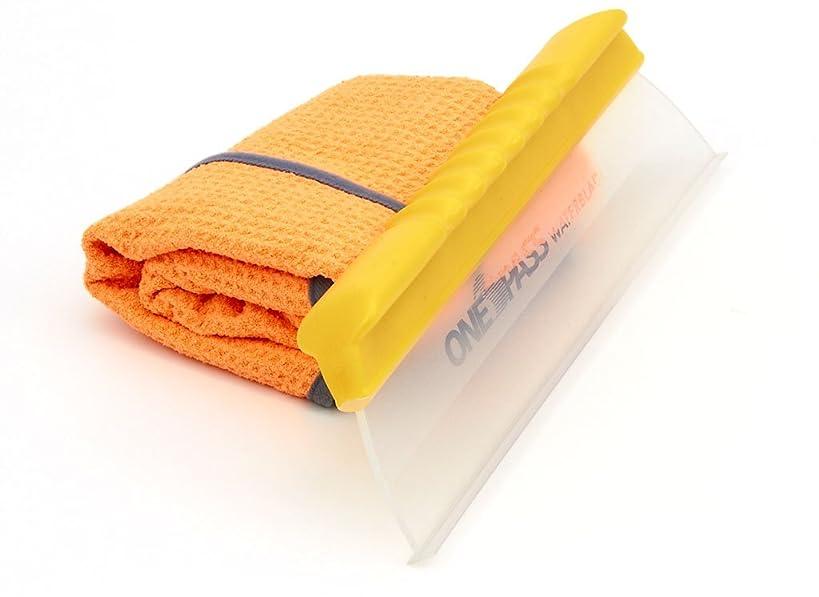 One Pass Original Water Blade Bundle, Flex Handle Squeegee with Large Microfiber Towel