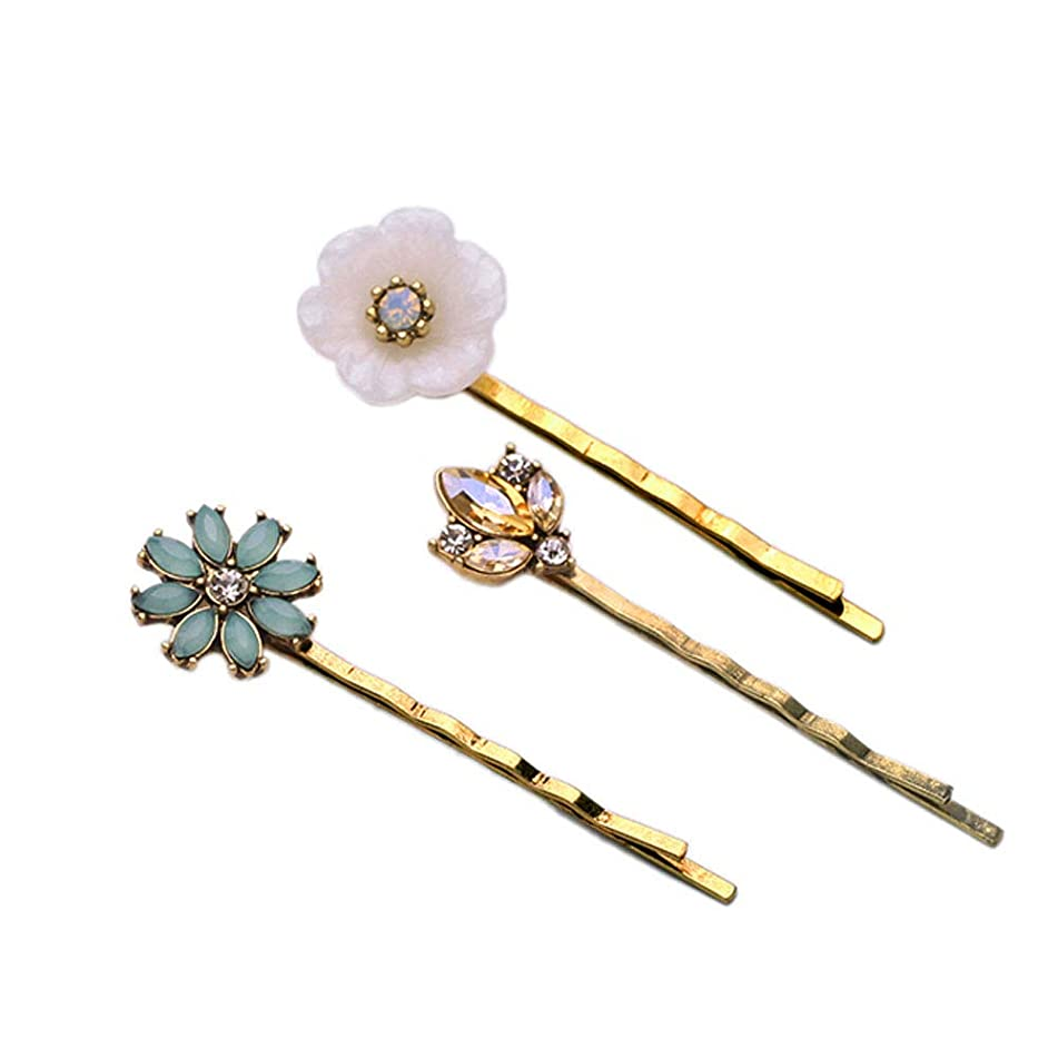 3 Pcs Hairpins Side Hair Barrettes Insert Alloy Grips Clamps Hair Clips Headdress Accessories for Women Lady Girls Elegance Fashion Gold Gemstone Flower Shell Shape