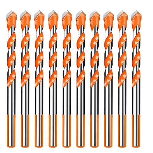 SHOUCAN Juego De Brocas Triangulares 10 Piezas Abridor De Orificios De Aleación Dura para Brocas Adecuado para Ladrillos De Cerámica De Vidrio Y Azulejos,6mm