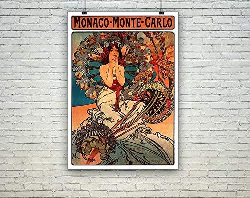 AZSTEEL Póster de Monte Carlo de Mónaco Monte Carlo Vintage Mucha | Póster sin marco para decoración de oficina, el mejor regalo para familiares y amigos de 11.7 x 16.5 pulgadas