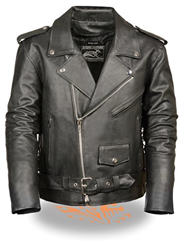 Men's Classic M/C Style Leather Side Lace Motorcycle Jacket W/Half Belt, Side Lace (X-Large)