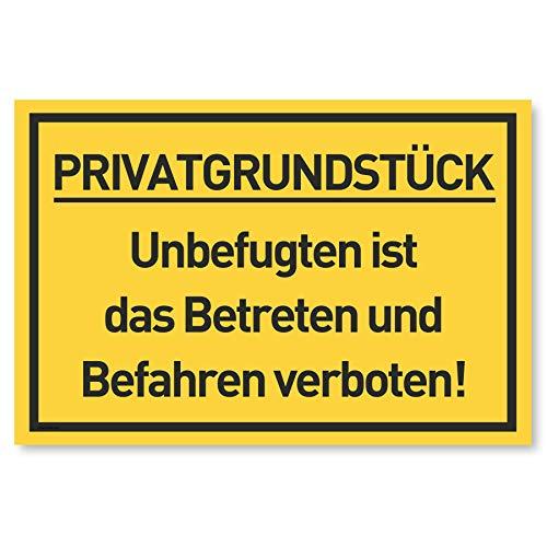 Privatgrundstück Schilder (30x20 cm Kunststoff) - Betreten und Befahren verboten Schild - Privatweg - Zutritt verboten - Durchgang Privat - (Gelb) Betreten Verboten