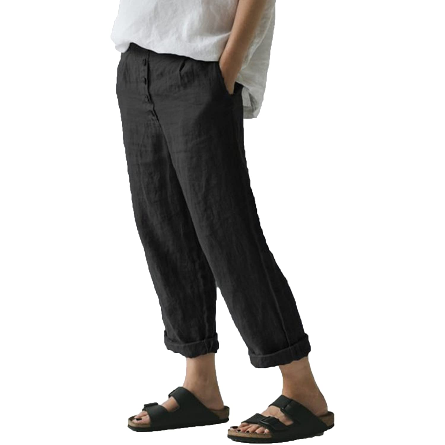 Women's Casual Linen Straight Leg Pants Flax Relaxed-Fit Elastic High Waist Casualpants Lady Beach Pockets Trousers (Small,Black)