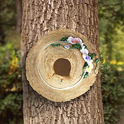 LANDOR Creative Birdhouse Bird Houses for Outside, Rustic Resin Straw Hat Outdoor Bird Nest Tree Mounted Bird Nest Hand-Painted Bird Hut Cozy Resting Breeding Place (Straw Hat, 7 Inch)