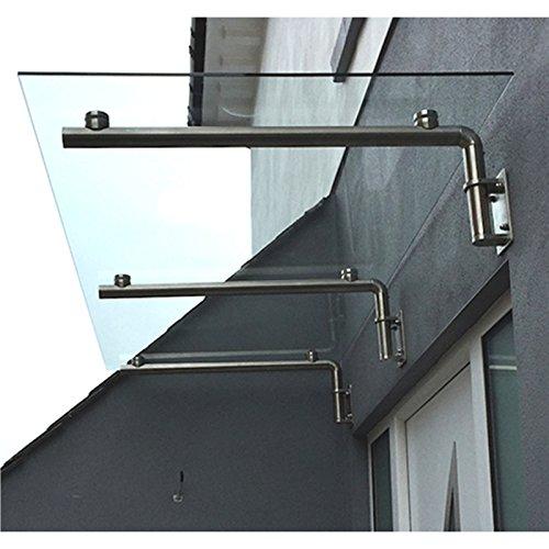 MonsterShop Glazen Luifel - Deur overkapping - Glas RVS - 180cm B x 80cm D
