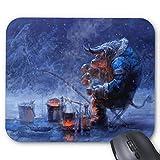 Mousepad Fantasy Fishing Snow Tauren Winter World of Warcraft Print Non-Slip Mouse Mat