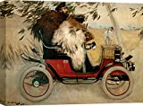 Art Print Cafe – Cuadro – Impresion sobre Lienzo - Ramon Casas, Ramon Casas and Pere Romeu in an Automobile – 80x60 cm