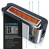 Arendo – Automatik Toaster Langschlitz   mit Defrost Funktion   Wärmeisolierendes Doppelwandgehäuse   Automatische Brotzentrierung   Brötchenaufsatz   herausziehbare Krümelschublade  GS-zertifiziert - 5