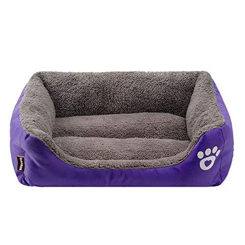 thematys Kuschelbett für Haustiere aus hochwertigem Plüschstoff – waschbares & kratzfestes Kissenbett (XXL, Lila)