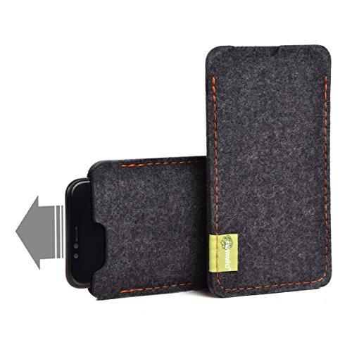 """Almwild® Hülle Tasche passend für Apple iPhone 12, 12 Pro. Modell """"Dezenzi"""" in Schiefer- Grau,Schwarz aus Natur-Filz. Handyhülle Handytasche in Bayern handgefertigt"""