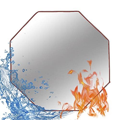 Mirabellinifred Feuerstellenmatte - Achteckige Ofenmatte (36 X 36 Zoll) Patio Herd Feuerfestes Pad BBQ Bodenschutzmatte Für Unter Outdoor Grill Garten Terrasse Gras Camping