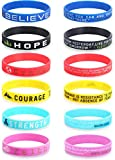 CASSIECA 12 Pcs Inspirational Silicone Rubber Bracelets for Men Women Wristbands Positive Energy with Motivational Saying Bracelets Set Sports Wristbands