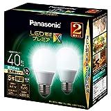 パナソニック LED電球 口金直径26mm プレミアX 電球40形相当 昼白色相当(4.4W) 一般電球 全方向タイプ 2個入り 密閉器具対応 LDA4NDGSZ42TAN