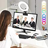 RGBW Clip LED Ring Light 6' 360°Full Color 8 Lighting Scenes 3200K-6500K Dimmable Clip on Desk,Monitor,Laptop,Chair and Bed for Video Conference Lighting,Computer Monitor Light or Vlogging Equipment