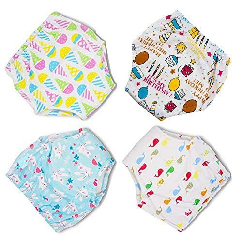 Anera Baby Underwear Pantalones de Entrenamiento para IR al baño, 4pcs Reusable Toddlers Kids Potty Training Calzoncillos de 6 Capas con un Diseño Lindo Unisex por 1.5-3 años Bebé