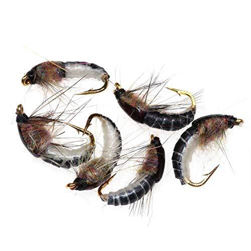 CloudWhisper Realistische Nymphenfliegen, 12 super stabile Haken, Insektenköder, Nassfliegen für Forellen, Nymphen, Perlenkopfangeln, 6 Stück