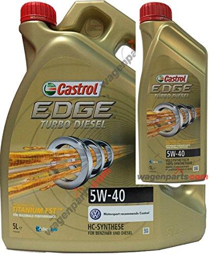 Aceite motor CASTROL EDGE TURBO DIESEL 5W40 6 litros (1x5 lts + 1x1 lt) especial motores TDi