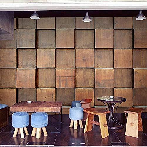 XHXI Mural personalizado Retro Mural de madera marrón Café bar Internet Café Tienda de ropa Restaurante Decora Pared Pintado Papel tapiz Decoración dormitorio Fotomural sala sofá mural-150cm×105cm