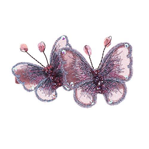 pince à cheveux de printemps broderie papillon strass incrusté en épingle à cheveux pinces à cheveux barrette de cheveux Barrette pour femmes Lady (Violet)