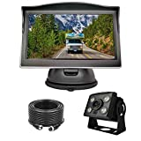 Wired Backup Camera System Kit,5'' LCD Rear View Monitor with IP69 Waterproof,1080P Vehicle Back up Cam IR Night Vision Wide View Angle for RV Trailer,5th Wheels,Tractor,Trucks