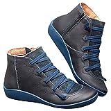 99AMZ Botines de Cuero Otoño Invierno Vintage con Cordones Zapatos de Mujer Botas Cómodas de Tacón Plano Cremallera Botas Corta Impermeables Zapatos para Mujer Botas Piel Zapatos (40 EU, Azul)
