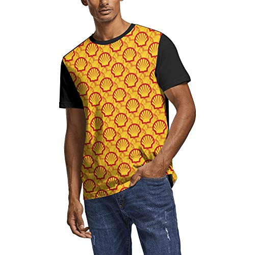 HQWT Men Funny T Shirt Shell-Gasoline-Gas-Card-Superimposed-Yellow- All Over Print Crewneck Short Sleeve Tee