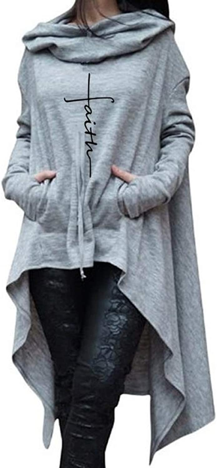 Xiangliood Women Irregular Thumb Hole Cowl Neck Faith Letter Cape Cloak Hoodie with Pocket