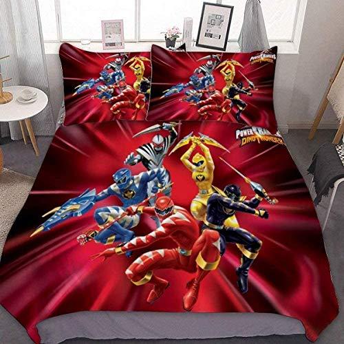 QWAS Mighty Morphin Power Rangers - Juego de funda de edredón y funda de almohada (agradable al tacto, suave e hipoalergénico)