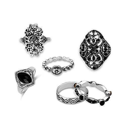 Juego de 6 anillos de dedo chapados en plata para mujer, estilo bohemio, punk, gótico, vintage, diseño moderno y fantástico.