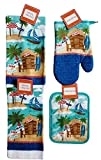 Summer Kitchen Towel and Linen (Tiki Hut and Beach Themed )Set of 4 Pieces – Two 15 in. x 25 in. Dish Towels, One Oven Mitt and One Pot Holder