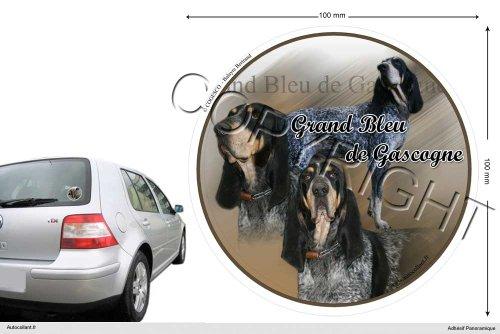 Autocollant chien circulaire 10 Cm Grand-bleu-de-gascogne