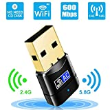 Adaptateur WiFi Stick 600 Mbps Mini Dual Band 2,4 GHz / 5 GHz Wireless USB Récepteur 802.11ac/n/g/b réseau dongle WPS pour PC, pour Windows XP / 7/8 / 10/ Vista Pas CD requis