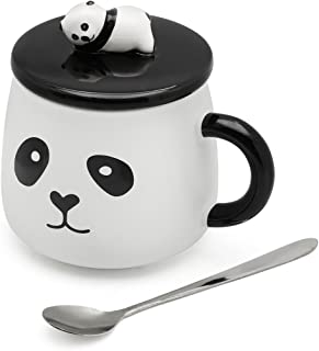 EPFamily 3D Mug Panda Funny Cute White Porcelain Coffee Mugs Set Small Ceramic Tea Cups Black with Lid and Spoon Gifts for Women Men Mom Grandma 14 Oz