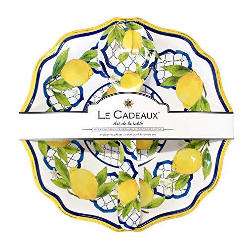 Le Cadeaux GS-BS-PAL Palermo Melamine Salad Bowl and Salad Servers, 13.75 Inches, Lemon