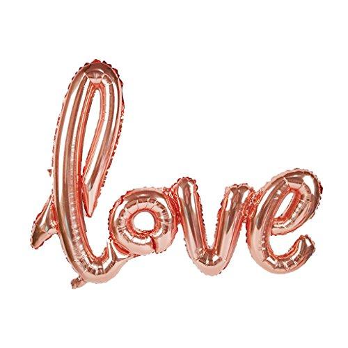 Homyl Love Shape Foil Balloon Compleanno di Matrimonio Palloncino A Elio Giocattolo per Bambini in Oro Rosa