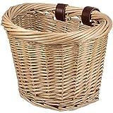 YIERMA Cesta de mimbre natural para bicicleta, bolsa de mimbre frontal, cesta de almacenamiento impermeable con correas de cuero, accesorio para bicicleta (correas de cuero marrón)