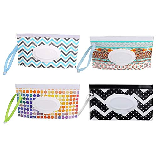 Wet Wipe Pouch, Baby Changing Bags, 4 Pcs Nappy Bag Reusable Baby Wipes Case Holder EVA Wet Wipes Case Holder Travel Wipe Case for Outdoor Travel