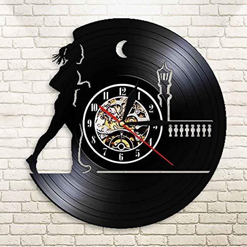 FDGFDG Night Running CD Schallplattenuhr Vinyl LP Schallplatte 3D Schallplattenuhr Home Hanging Wanduhr Kreative und Retro-Uhr