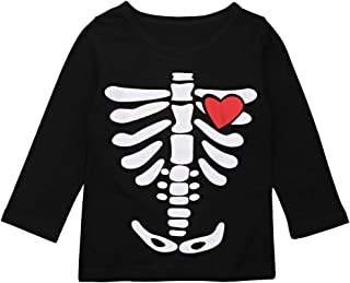 OBEEII Halloween Costume Baby Toddler Boy Girl Skeleton Top Long Sleeve Tee Shirt Clothes Fancy Dress Up Party Cosplay
