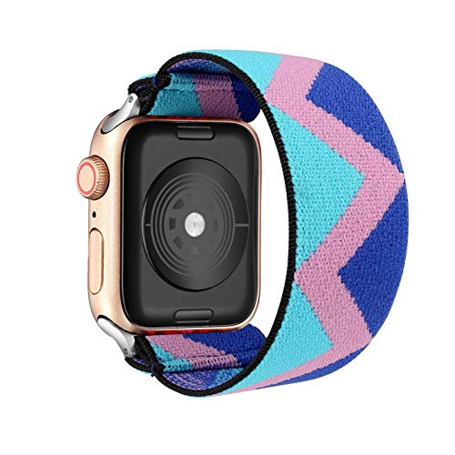 MPWPQ Loop Banda Bohemia elástico de Nylon for Apple Seguir 6SE Correa 38/40 mm 42/44 mm for IWATCH 5/4/3 2 Hombre Mujeres Ver Banda (Band Color : Pink Blue, Band Width : 42mm 44mm M L)