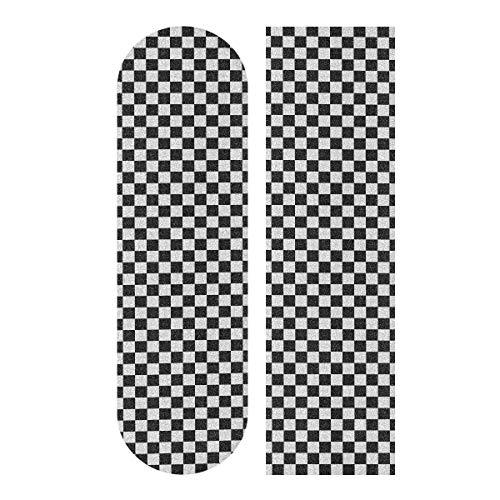 LMFshop 33,1x9,1 Zoll Sport im Freien Longboard Aufkleber kleine Karierte Schwarz-Weiß-Quadrat drucken wasserdichte Longboard Aufkleber für Tanzbrett Double Rocker Board Deck 1 Blatt