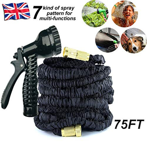 Upgrade 75FT Extendable Garden Hose Pipe with Solid Brass Fitting for 3/4'...