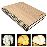 LED Livre Lampe, Rechargeable par USB,VORRINC lumière LED magnétique en bois,Lampe de lecture pliante (Beige)