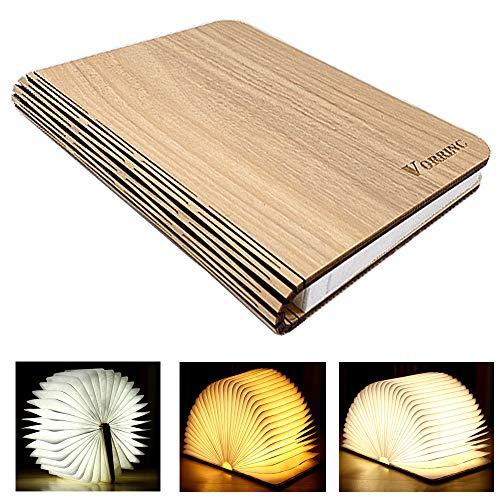 Libro Luz LED Lámpara,Lámpara de Mesa, Forma de Libro Plegable Recargable USB Book Lamp con Batería de Litio 2000mAh, Plegable 360°, Luz de Magnética Noche