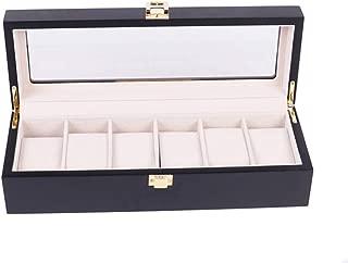 Men's jewelry box High-grade 6 Compartment leather watch box organizer case black OSBZ12