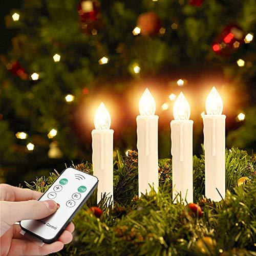 40er Christbaumkerzen Kabellos Warmweiß Flammenlos Weihnachtsbaum Lichterkette mit Fernbedienung