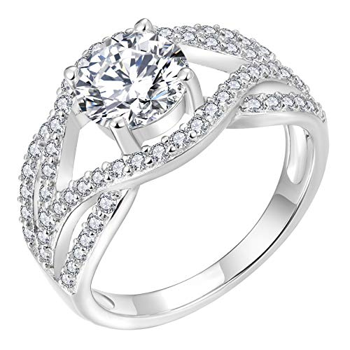 YL Celtic Knot Weddings Rings 925 Sterling Silver Twisted Knot Ring 18k White Gold Plated Cubic Zirconia Infinity Statement Rings for Women-size7