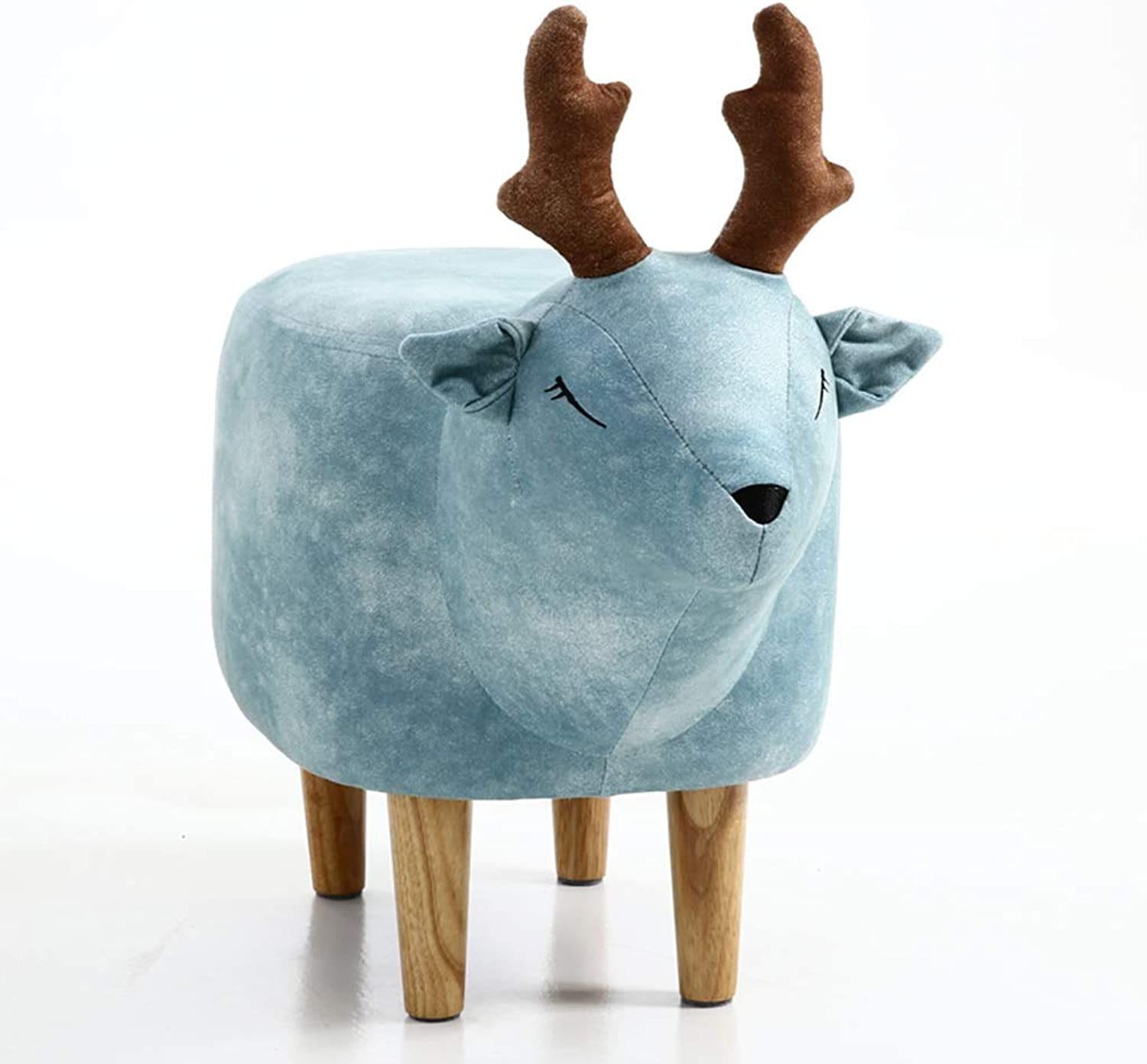 Modern Minimalist Home Deer shoes Bench Wear shoes Bench Footstool Stool Creative Stool (color   bluee)